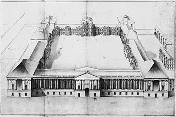 Claude Perrault, perspective bird's-eye view of the Louvre from the east – Berger 1993, figure 67.jpg