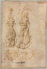 Design for a Candelabrum, Allegorical Figure of Abundance, Ornamental Relief Design
