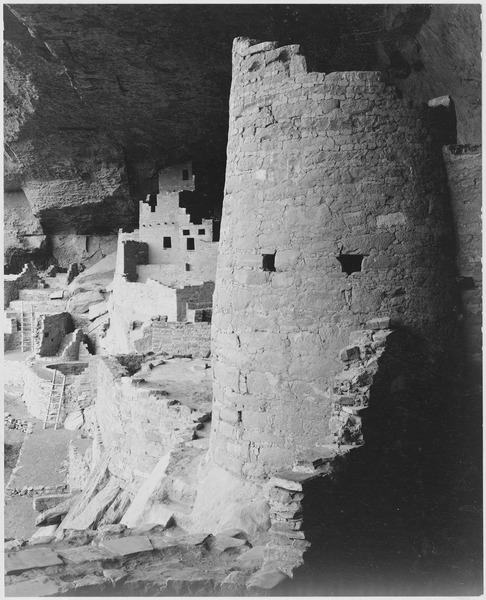 "Cliff Palace, Mesa Verde National Park,"" Colorado. (vertical orientation), 1933 - 1942 - NARA - 519942"