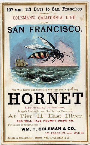 Hornet (clipper) - Image: Clipper ship Hornet sailing card