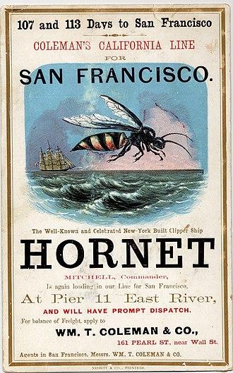 Hornet (clipper) - Image: Clipper ship Hornet sailing card