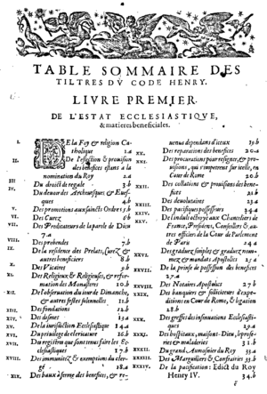Barnabé Brisson - The first page of the table of contents of the Code Henri III.