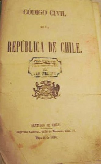 Chilean Civil Code - First page of the Chilean Civil Code, first edition of 1856.