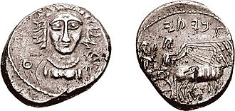 "Manbij - Silver didrachm of 'Abyati, Achaemenid dynast/priest of Manbog (Bambyce), dated c. 340-332 BC. Obv: ""Hadad and Ateh"" in Aramaic, facing female bust, wearing necklace. Rev: ""Abyaty"" in Aramaic, high priest and driver in chariot."