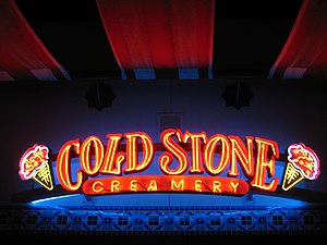 A neon sign for the Cold Stone Creamery at Irv...