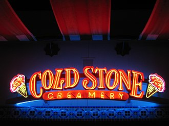 Cold Stone Creamery - A neon sign for the Cold Stone Creamery at Irvine Spectrum in Irvine, California.