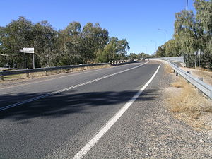 Gwydir Highway - Rocky Ford Bridge on the highway over the Barwon River at Collarenebri.