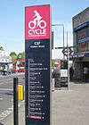 Destinations of CS7 in the style of a tube line, on a large upright sign.