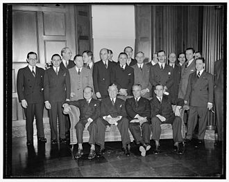 Edward J. Noble - Edward J Noble seated second from left at the Conference of Latin American Retailers