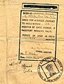 "Consulate General of India seal and stamp detail of Tibetan Passport of 1947-1948 issued to Wangchuk Deden Shakabpa, then ""Chief of the Finance Depratment of the Goverment of Tibet"" (cropped).jpg"