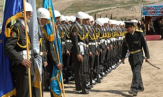 Military academy - Cadets of the National Military Academy of Afghanistan stand in formation awaiting dignitaries. The Academy was established in 2005.