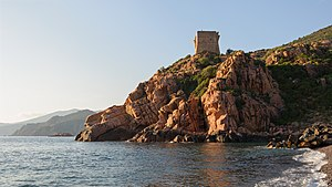 Medieval Corsica - The Genoese tower in Porto, Ota.