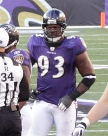 Cory Redding at M&T Bank stadium Dec 11, 2011.jpg