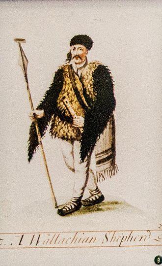 Romanian dress - Costume of a typical Romanian shepherd, 18th century