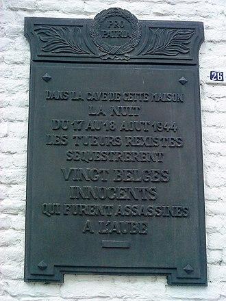 Courcelles massacre - Monument at the site of the massacre