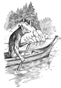Coyote paddling in a canoe in Edward S. Curtis's Indian days of long ago Coyoteinacanoe.png