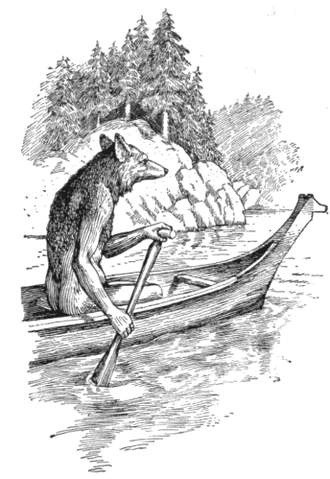Coyote (mythology) - Coyote canoeing, in a traditional story