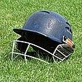Cricket helmet at Walker Cricket Ground, Southgate, London, England 01.jpg