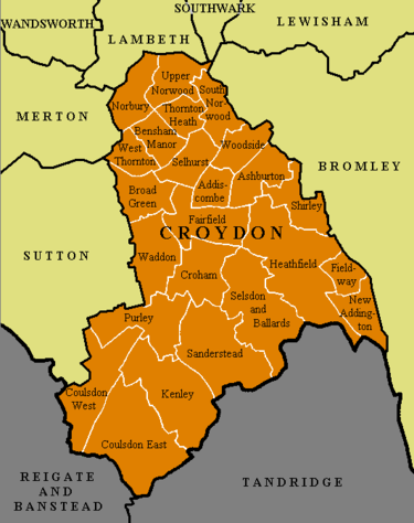 The 24 electoral wards of the London Borough of Croydon, and the surrounding districts Croydon ward map.PNG