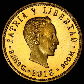 José Martí - José Martí depicted on the 1915 gold 5 Cuban peso coin.