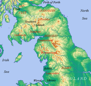 Cumbric - The Cumbric region: modern counties and regions with the early mediæval kingdoms