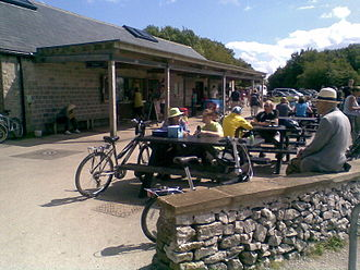 High Peak Trail - The cycle-hire centre at Parsley Hay on a busy August weekend