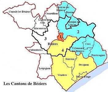 carte des quartiers de beziers Canton de Béziers 2 — Wikipédia