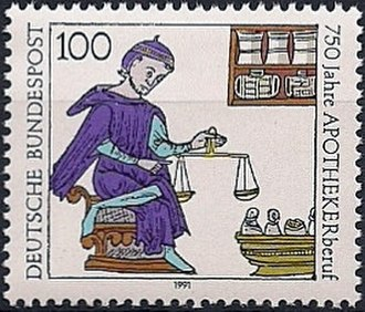 Apothecaries' system - German postage stamp from 1991, commemorating 750 years of the apothecary profession