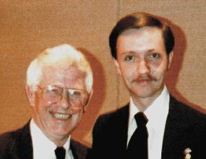 Daniel O. Graham - Daniel O. Graham, Founder and Director, High Frontier (left) and Rafael Picklesimer, Intelligence Specialist and Speech Maker, High Frontier (right) - 1988