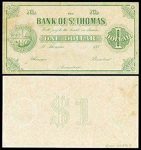 Danish West Indies, Saint Thomas, 1 dollar (1889)