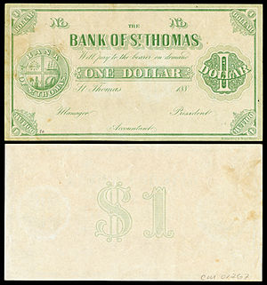 Saint Thomas, U.S. Virgin Islands - Image: DWI 15r Danish West Indies (St Thomas) 1 Dollar (1889)