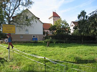 "Malsfeld - The way into Dagobertshausen, ""fortress church"" in the background"