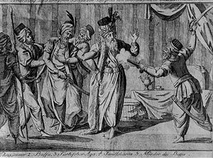 Hadji Mustafa Pasha - Hadži Mustafa Pasha's assassination by Kuchuk Alija, plate from 1802