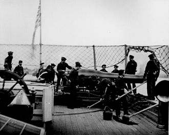 Battle of the Head of Passes - Dahlgren 9-inch smooth bore cannon and crew on the stern pivot position of a Union gunboat.
