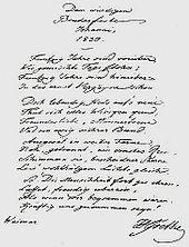 """Danksagung von Goethe an die Weimarer Loge """"Amalia"""" zu seinem 50-jährigen Maurerjubiläum (1830) (Quelle: Wikimedia)"""