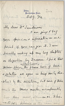 handwritten letter from Charles Darwin to John Burdon-Sanderson dated 9 October 1874