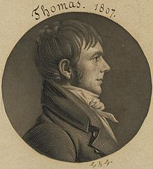 1807 engraving of Thomas, head and shoulders, facing right