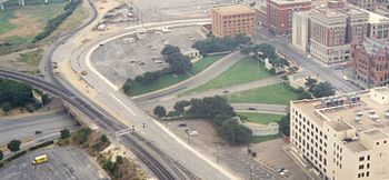 The view above Dealey Plaza in Dallas, Texas.