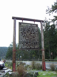 Tourist sign at Deception Pass
