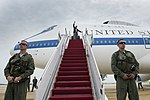 Defense Secretary Chuck Hagel boards a plane on Joint Base Andrews, Md., May 28, 2014, on his way to Anchorage, Alaska, his first stop during his 12-day trip to Asia and Europe ID16706.jpg