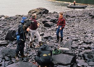 KCTS-TV - KCTS crew recording an interview with Dennis Kelso, then-commissioner of the Alaska Department of Environmental Conservation, during the cleanup of the ''Exxon Valdez'' oil spill in 1989.