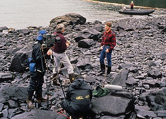 KCTS-TV - KCTS crew recording an interview with Dennis Kelso, then-commissioner of the Alaska Department of Environmental Conservation, during the cleanup of the Exxon Valdez oil spill in 1989.