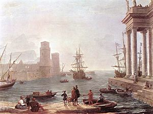 Scheria - Claude Lorrain: Port Scene with the Departure of Odysseus from the Land of the Phaeacians (oil on canvas, 1646; Louvre, Paris)