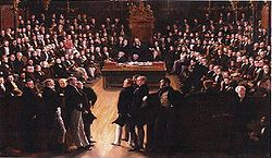 Picture commemorating the passing of the Reform Act in 1832. It depicts the first session of the new House of Commons on 5 February 1833