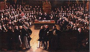 Reform Act 1832 - A painting by Sir George Hayter that commemorates the passing of the Act. It depicts the first session of the newly reformed House of Commons on 5 February 1833 held in St. Stephen's Chapel. In the foreground, the leading statesmen from the Lords: Charles Grey, 2nd Earl Grey (1764–1845), William Lamb, 2nd Viscount Melbourne (1779–1848) and the Whigs on the left; and Arthur Wellesley, 1st Duke of Wellington (1769–1852) and the Tories on the right. Currently in the National Portrait Gallery.