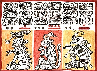 Maya script - Detail of the Dresden Codex (modern reproduction)