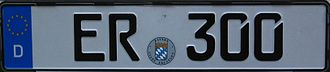 Slashed zero - German license plate depicting diagonal gap