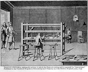 Diamond cutting - Man-powered diamond cutting mill in 18th century