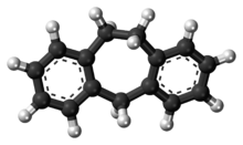 Ball-and-stick model of the dibenzocycloheptene molecule