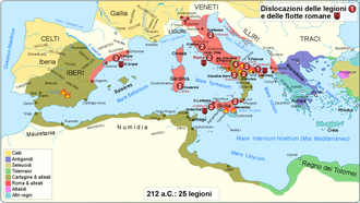 Battle of Herdonia (212 BC) - Battles in 212 BC and the locations of the legions